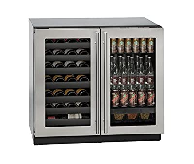 "U-Line U3036BVWCS00A Built-in Beverage Center and Wine Storage, 36"", Stainless Steel"