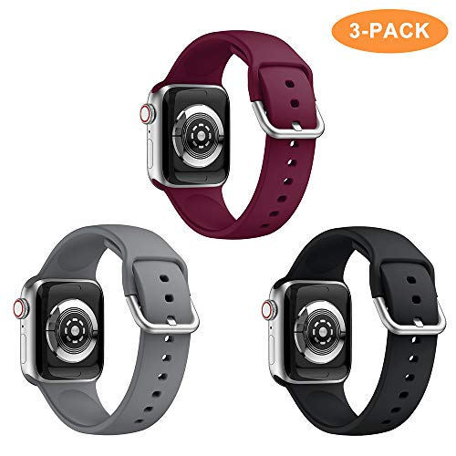 Younsea Compatible with iWatch Band 38mm 40mm 42mm 44mm, Soft Silicone Replacement Sport Edition Wristband Strap Bands for iWatch Series 4 3 2 1