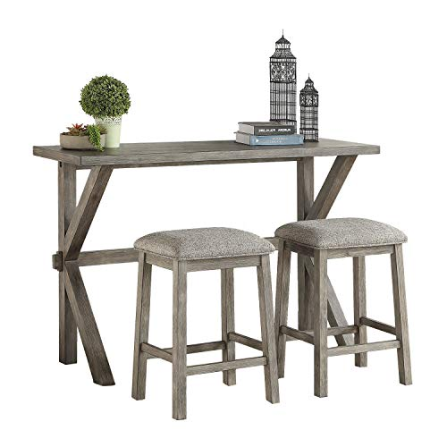 Lexicon 3-Piece Counter Height Dinette Set, Gray (Dinette Three Piece Sets)