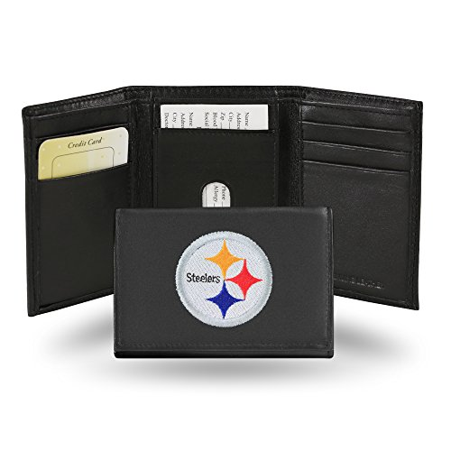 NFL Pittsburgh Steelers Embroidered Genuine Leather Trifold Wallet ()