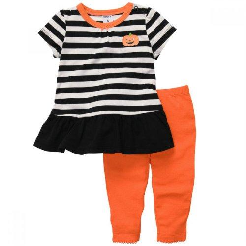 Carter's Baby Girls' 2 Piece Ruffle Stripe Pumpkin Shirt Leggings - 6 -