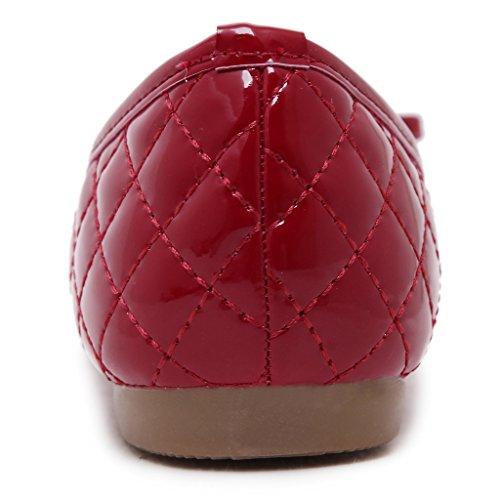 Jds Bowknot Fortuning Ronde Semelle Tête Chaussures Rouge De Douce Souple Plates De Casual UHH4qR6