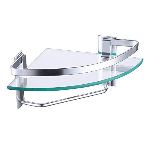KES Aluminum Bathroom Glass Corner Shelf with Towel Bar Wall Mount Extra Thick Tempered Glass, Silver Sand Sprayed, A4123A-SV