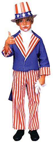 [Boys Uncle Sam Kids Child Fancy Dress Party Halloween Costume, S (4-6)] (Uncle Sam Halloween Costumes)