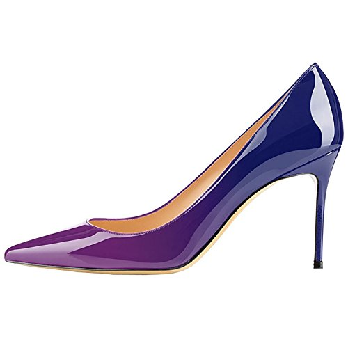 Lovirs Womens Purple-Blue Office Basic Slip on Pumps Stiletto Mid-Heel Pointy Toe Shoes for Party Dress 8.5 M US