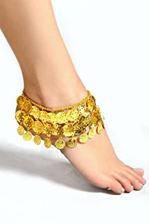Pearl Belly Dance Exotic Fashion 3 Row Coin Anklet - GOLD (1pc)