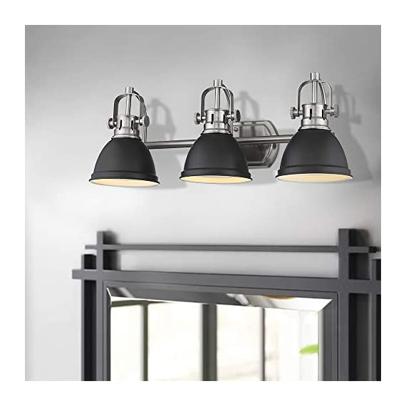 Emliviar 3-Light Bathroom Vanity Light Fixture, Black Finish with Metal Shade, 4054H-A - Upgrade version modern 3 light bath vanity light fixture features sturdy metal construction in black finish Easy installation. Includes all mounting hardware. Perfect for your bathroom, dressing table, mirror cabinets, vanity table and art display etc. Hard wired. Requires 3 x E26 base bulb(Max.60W). Bulb NOT included - bathroom-lights, bathroom-fixtures-hardware, bathroom - 41KuuyoJ6TL. SS570  -