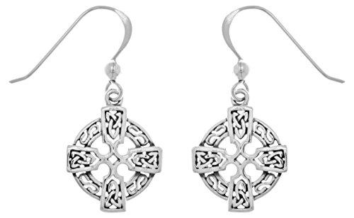 ing Silver Celtic Knotwork Cross Dangle Earrings (Celtic Cross Drop Earrings)