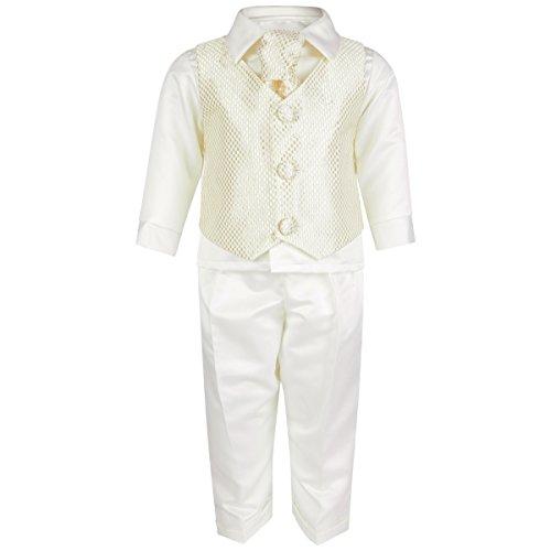 Bebé Niños 4piezas para bautizo boda ocasión especial vestido blanco de cuadros azul comprobar oro