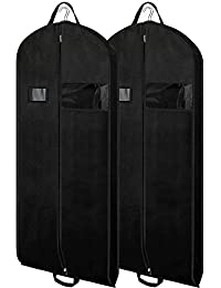 Black Garment Bags Suit Bags for Travel 54 inch Breathable Dresses Cover Bag  with Gusseted 7c25cc655d0b2