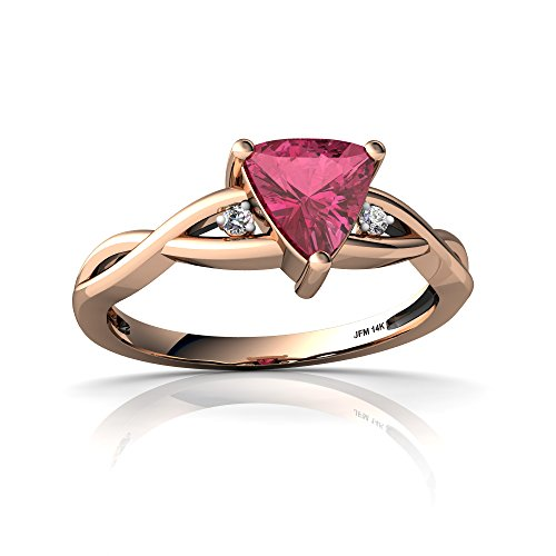 14kt Rose Gold Pink Tourmaline and Diamond 6mm Trillion Twist Ring - Size 7