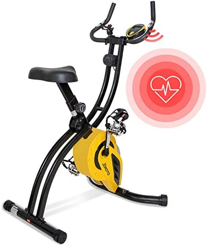 Folding Magnetic Upright Exercise Bike with Pulse – Sitting Standing Indoor Cycling Stationary Bike