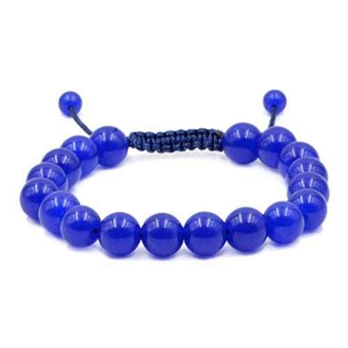 AD Beads Natural 10mm Gemstone Bracelets Healing Power Crystal Macrame Adjustable 7-9 Inch (Blue Jade) - Handmade Genuine Jade Earrings