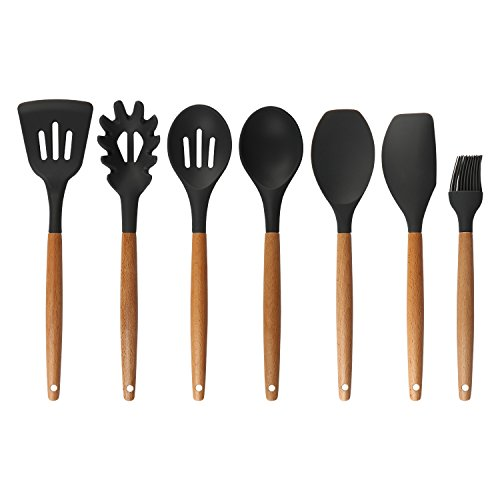 7 Pieces Silicone Kitchen Utensils Set with Natural Wooden Handle Heat Resistant Non-Stick Pan Kitchenware Nonstick Spoon Scoop Soup Spoon Spatula