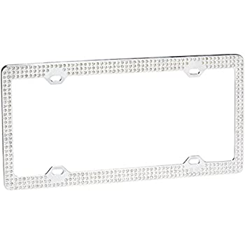 Amazon.com: Triple Row White Crystal License Plate Frame: Automotive