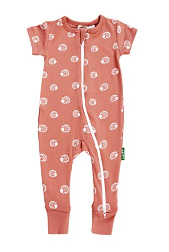 (Parade Organics Signature Print '2-Way' Zip Romper - Short Sleeve Rust Hedgehogs 3-6 Months)