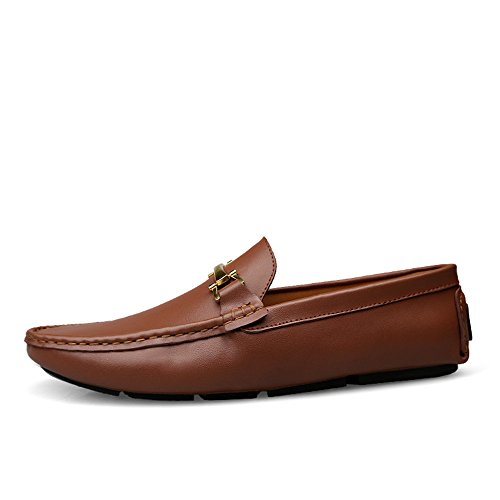 Scarpe Pelle Uomo da Mocassini Scarpe Casual Scarpe Slip Piatte Cricket da Marrone da Vera on Guida Mocassini in Barca wtZtzqR