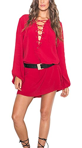 Relipop Women's Casual Long Sleeve Front Cross Dress Sexy Loose Mini Dresses (XX-Large, Red) (Teen Sexy Dress)