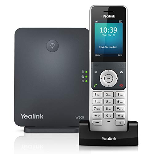 Yealink W60P Cordless DECT IP Phone and Base Station, 2.4-Inch Color Display. 10/100 Ethernet, 802.3af PoE, Power Adapter Included ()
