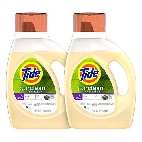 - Tide Purclean Plant-Based Laundry Detergent Liquid, Honey Lavender Scent, 50 oz, Pack of 2, 64 Loads Total (Packaging May Vary)