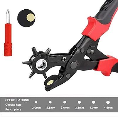 Alicate Sacabocados para Cinturones, Alicates Sacabocado Agujero Perforadora Puzones con 6 Puntas Intercambiables Redondas 2/2,5/3/3,5/4/4,5 para ...