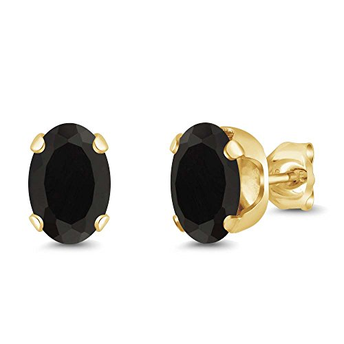 Oval Earrings Onyx Black (1.60 Ct Oval 7x5mm Black Onyx 18K Yellow Gold Plated Silver Stud Earrings)