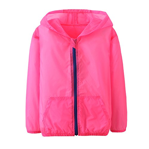 Price comparison product image Anti UV Clothing for Kids Sun Protection Coat with Hoodies Suntan-proof Wear (5T, Soft red)