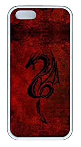 iPhone 5 Case, iPhone 5S Cases - Thin Fit Soft Case for iPhone 5/5s Red Dragon Scratch-Resistant Soft White Back Case for iPhone 5/5S