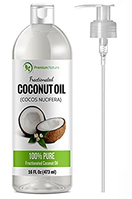 Fractionated Coconut Oil Skin Moisturizer - Natural & Pure Carrier Oil Massage Oil Skin Moisturizer Therapeutic Odorless - for Skin & Hair 16 Oz Clear Premium Nature