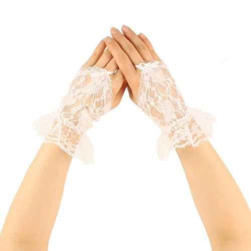 (Sexy Sheer Lace Fingerless Ribbon Hook Ruffle Short Wrist Dressy Gloves White)