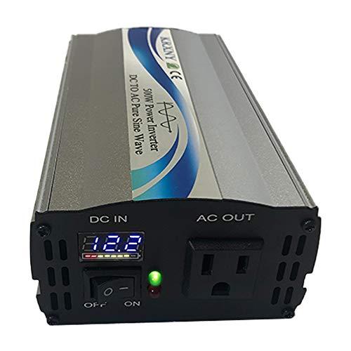 KRXNY 500W Car Power Inverter DC 12V to AC 110V 120V 60HZ Pure Sine Wave Converter with LED Display US Socket
