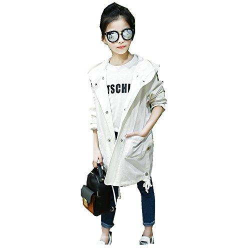 FTSUCQ Girls Zipper Front Overcoat Sweatershirt Hoodie Wind Coat,White - Shopping Santa In Clara