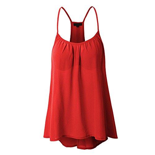 Doppio Donna Elegante Vest Vestiti Top shirt Manica Sexy Abbigliamento Taglie Tunica Estivi Canottiere Donne Rosso Casual Magliette Canotta Tank T Chiffon Weant Moda Forti Felpe TExqf0Fwx