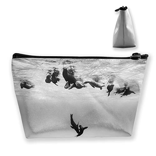 Makeup Bag Cosmetic Water Dolphin Tail Portable Cosmetic Bag Mobile Trapezoidal Storage Bag Travel Bags with -