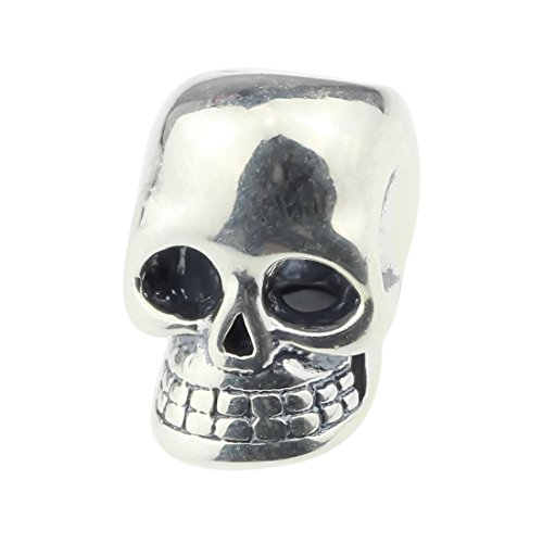 Beads Hunter 925 Sterling Silver Charm Gothic Skull the Punk Rock Wind Fit Pandora Biagi Troll Chamilia Cable Bracelet Snake Chain