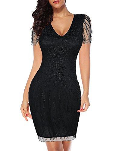 Gatsby Black Dress 1920s Cocktail Dress Flapper PrettyGuide Women's Beaded waxqqRFv