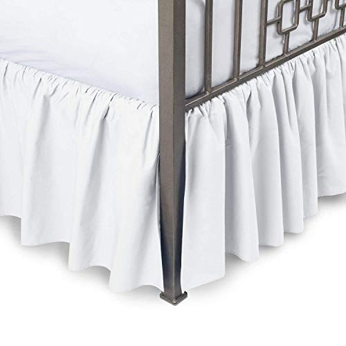 Ruffled Bed Skirt with Split Corners Three Side Coverage, Easy fit, Made Brushed Microfiber (Queen 21 Inches, White)