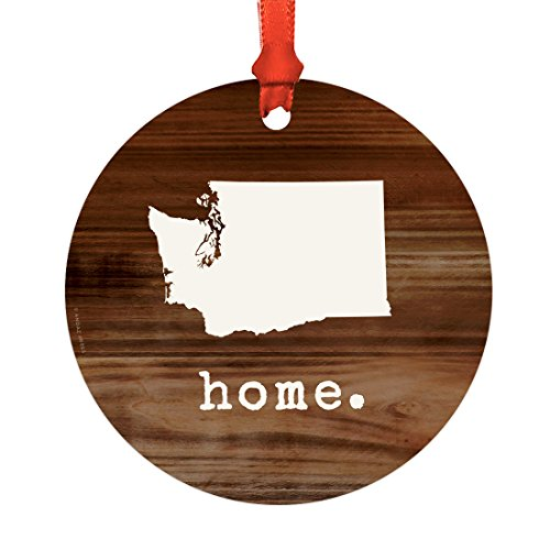 Andaz Press US State Round Metal Christmas Ornament, Rustic Wood Print, Washington, 1-Pack, Includes Ribbon and Gift Bag Home Made Christmas Tree