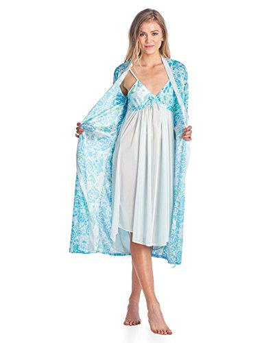 Casual Nights Women s Satin 2 Piece Robe and Nightgown Set - Green - Large a2645e2de