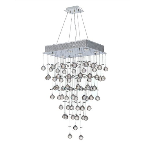 Worldwide Lighting Icicle Collection 6 Light Chrome Finish and Clear Crystal Rectangle Chandelier 20
