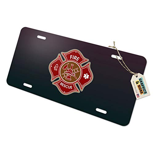 Graphics and More Firefighter Fire Rescue Maltese Cross Novelty Metal Vanity Tag License Plate