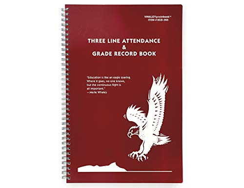 Whaley Gradebook (9 x 12 inches) 3 Line Grade And Attendance Record Book, 20 Student Lines, Six 8-Week Sessions (6GB-066)