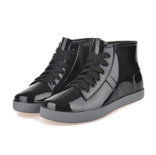 QQnvYUXUE Y&JAXIE Women lace rain boots/short boots/low to help water jacket shoes shoes Black