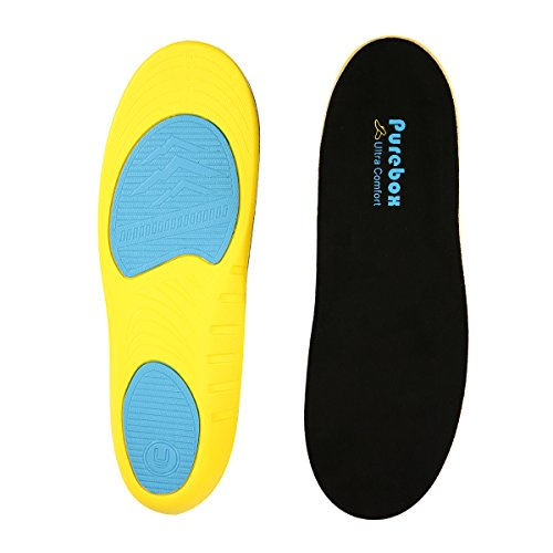 Shoe Insoles Orthotics Shoe Inserts Arch Support Shock Absorption Insoles Comfort Cushioning Gel Heel, Can be Trimmed Full Length (Men's Size:US 8-12) by PUREBOX