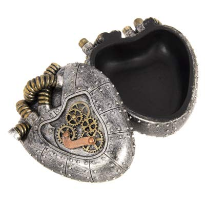 Karen's Good Stuff Steampunk Mechanical Heart Shaped Silver Resin Box Lid Gold Gears Trinket Box Jewelry Box Stash Box