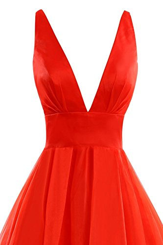 Ball Abendkleider V Kleid Women's Neck 2016 Ballkleid Formelle Fanciest Coral Kleides Evening Lang H6w4qZ