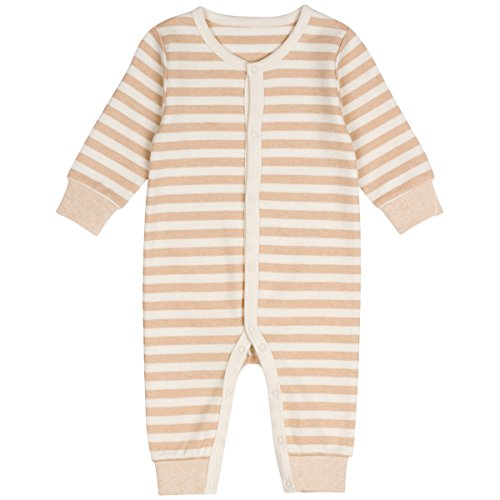 Niteo Baby Organic Cotton Snap Front Coverall, Light Brown Stripes, NB
