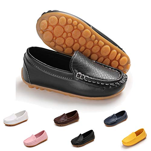 ENERCAKE Toddler Kids Boys Girls Loafers Shoes Soft Synthetic Leather Slip On Moccasins Flat Boat School Dress Shoes(Toddler/Little Kid)