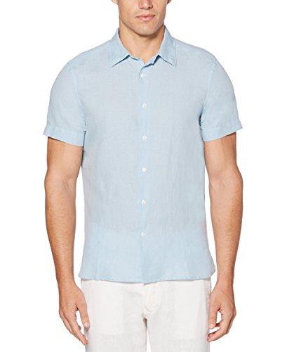 Perry Ellis Men's Short Sleeve Solid Linen Cotton Shirt, Cerulean, Large