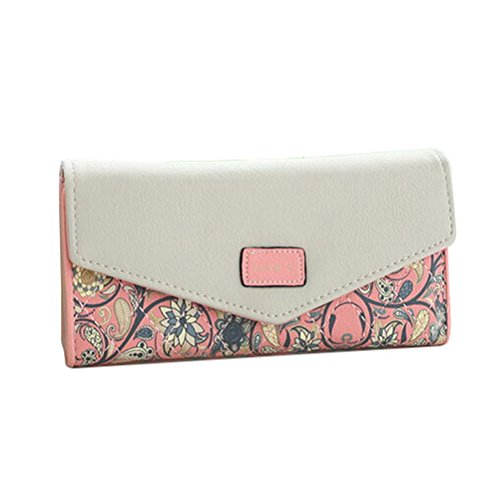 Fashion Road Womens Lady Leather Wallet Envelope Long Purse Clutch Card Holder Case Pink - Pink Floral Wallet